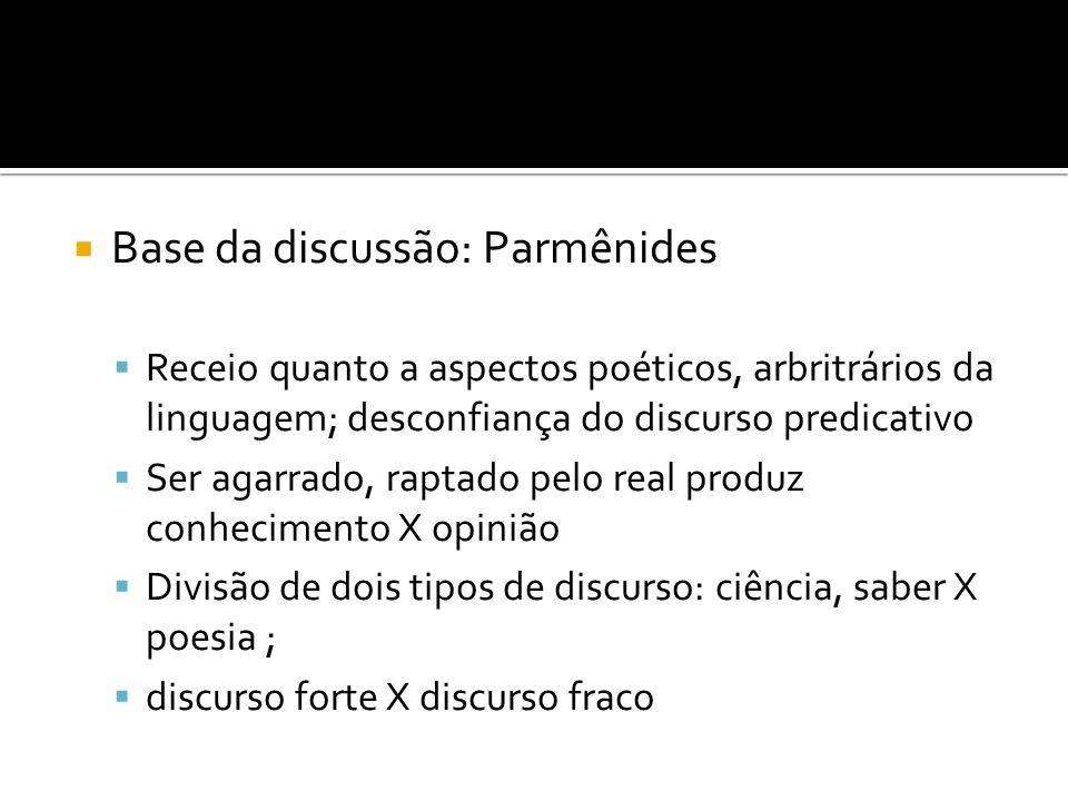 Base da discussão: Parmênides Receio quanto a aspectos poéticos, arbritrários da linguagem; desconfiança do discurso predicativo Ser agarrado, raptado