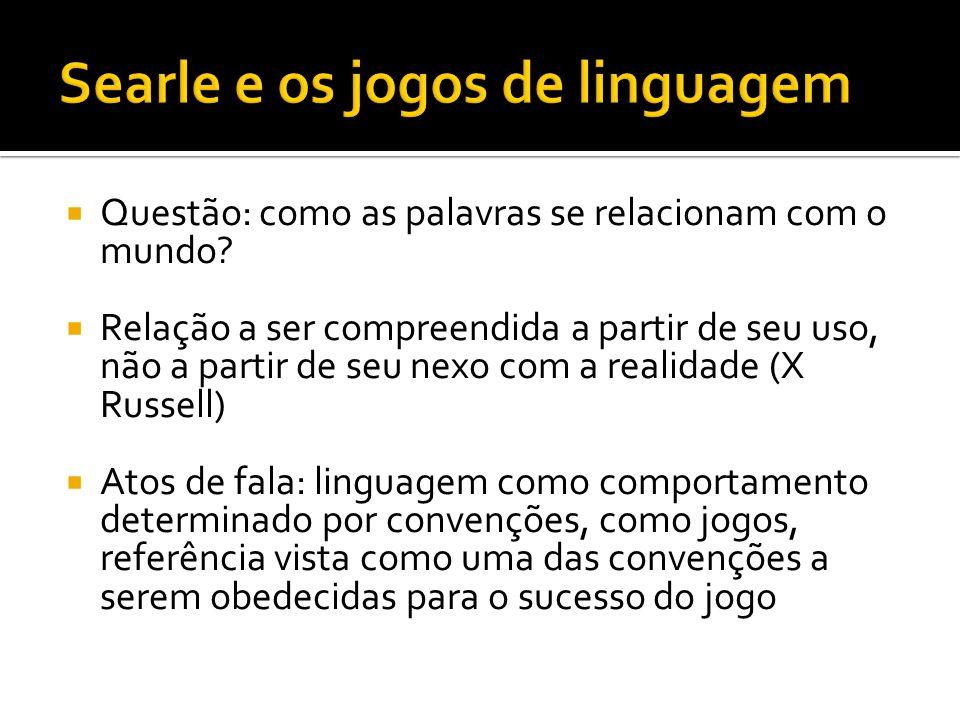 Na linguagem ficcional, regras semânticas são alteradas de alguma forma; autor finge realizar uma série de atos ilocucionários de tipo representativo (p.