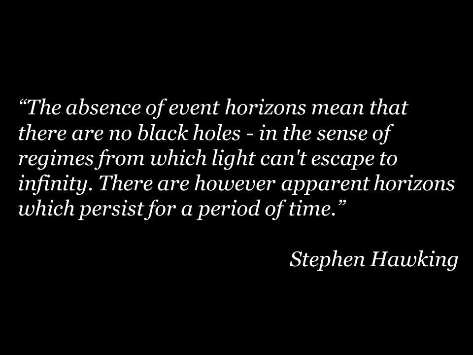 The absence of event horizons mean that there are no black holes - in the sense of regimes from which light can t escape to infinity.