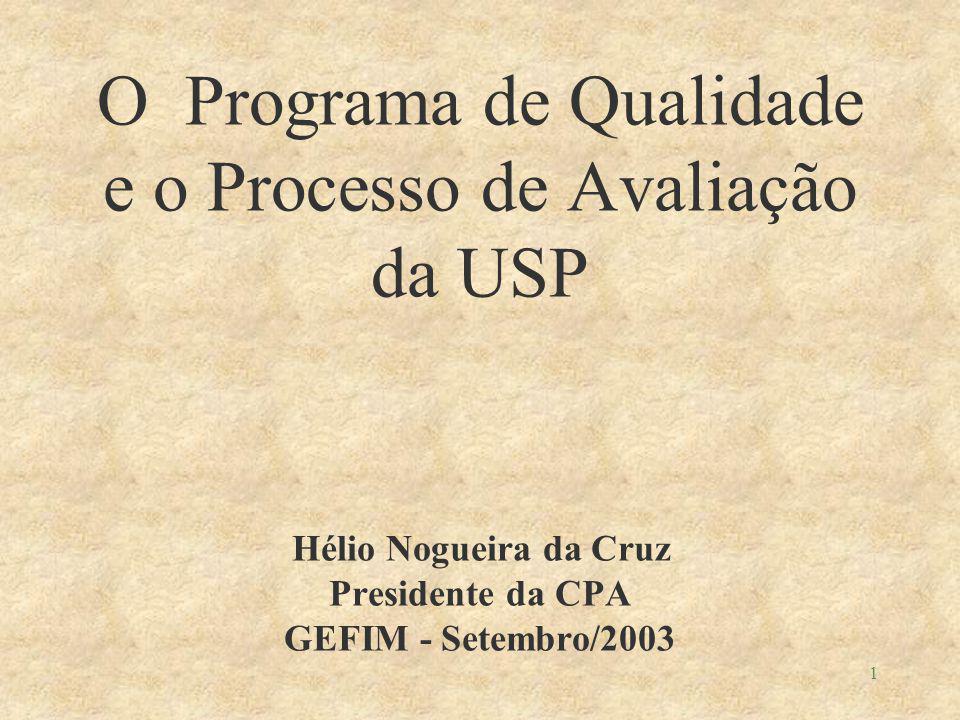 1 O Programa de Qualidade e o Processo de Avaliação da USP Hélio Nogueira da Cruz Presidente da CPA GEFIM - Setembro/2003