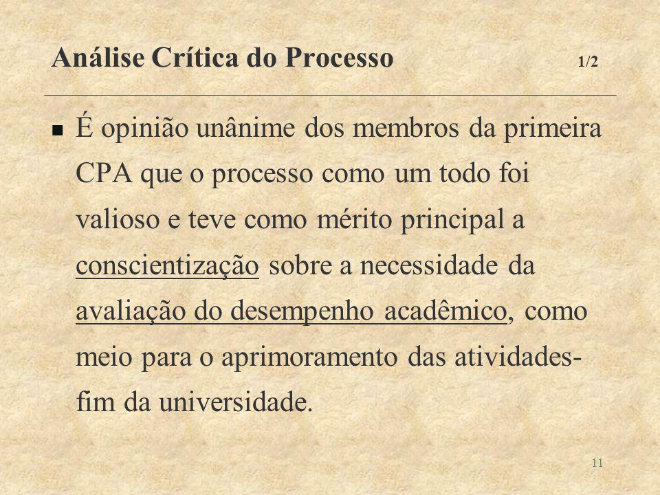 11 Análise Crítica do Processo 1/2 É opinião unânime dos membros da primeira CPA que o processo como um todo foi valioso e teve como mérito principal a conscientização sobre a necessidade da avaliação do desempenho acadêmico, como meio para o aprimoramento das atividades- fim da universidade.