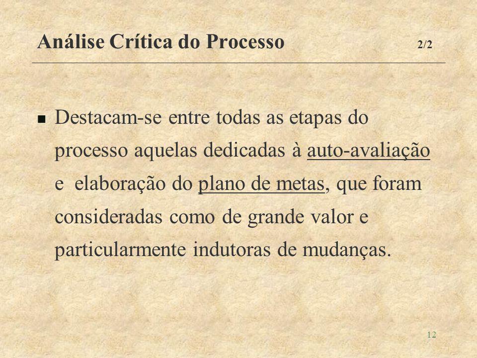 12 Análise Crítica do Processo 2/2 Destacam-se entre todas as etapas do processo aquelas dedicadas à auto-avaliação e elaboração do plano de metas, que foram consideradas como de grande valor e particularmente indutoras de mudanças.