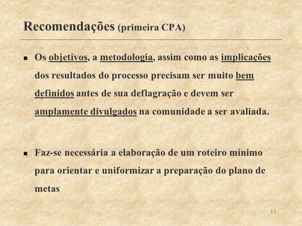 13 Recomendações (primeira CPA) Os objetivos, a metodologia, assim como as implicações dos resultados do processo precisam ser muito bem definidos antes de sua deflagração e devem ser amplamente divulgados na comunidade a ser avaliada.