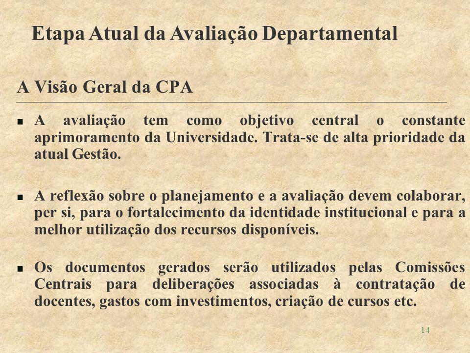 14 A Visão Geral da CPA A avaliação tem como objetivo central o constante aprimoramento da Universidade.
