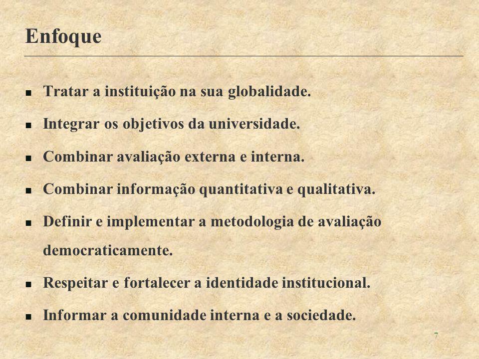 7 Enfoque Tratar a instituição na sua globalidade.