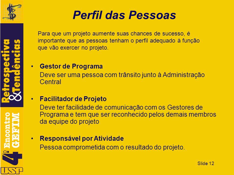 Slide 12 Perfil das Pessoas Gestor de Programa Deve ser uma pessoa com trânsito junto à Administração Central Facilitador de Projeto Deve ter facilida