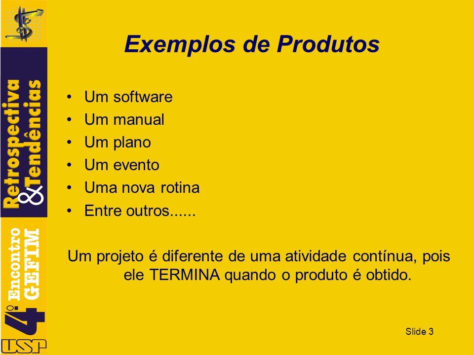 Slide 3 Exemplos de Produtos Um software Um manual Um plano Um evento Uma nova rotina Entre outros...... Um projeto é diferente de uma atividade contí