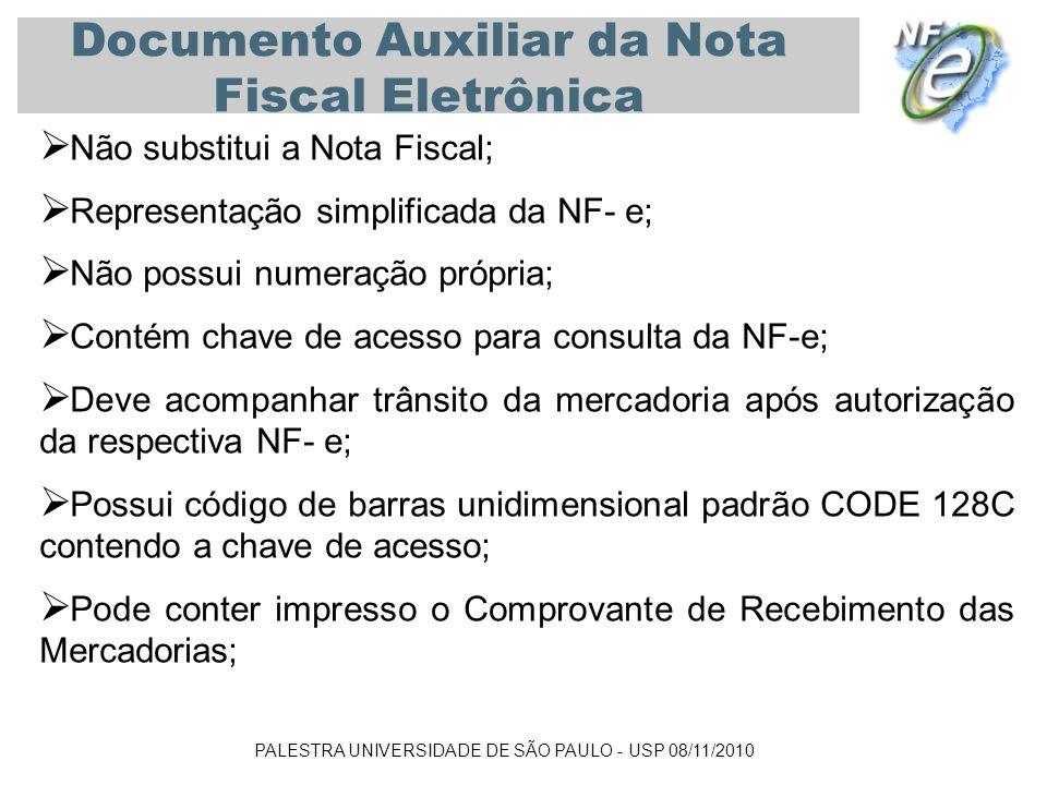 PALESTRA UNIVERSIDADE DE SÃO PAULO - USP 08/11/2010 Documento Auxiliar da Nota Fiscal Eletrônica Não substitui a Nota Fiscal; Representação simplifica
