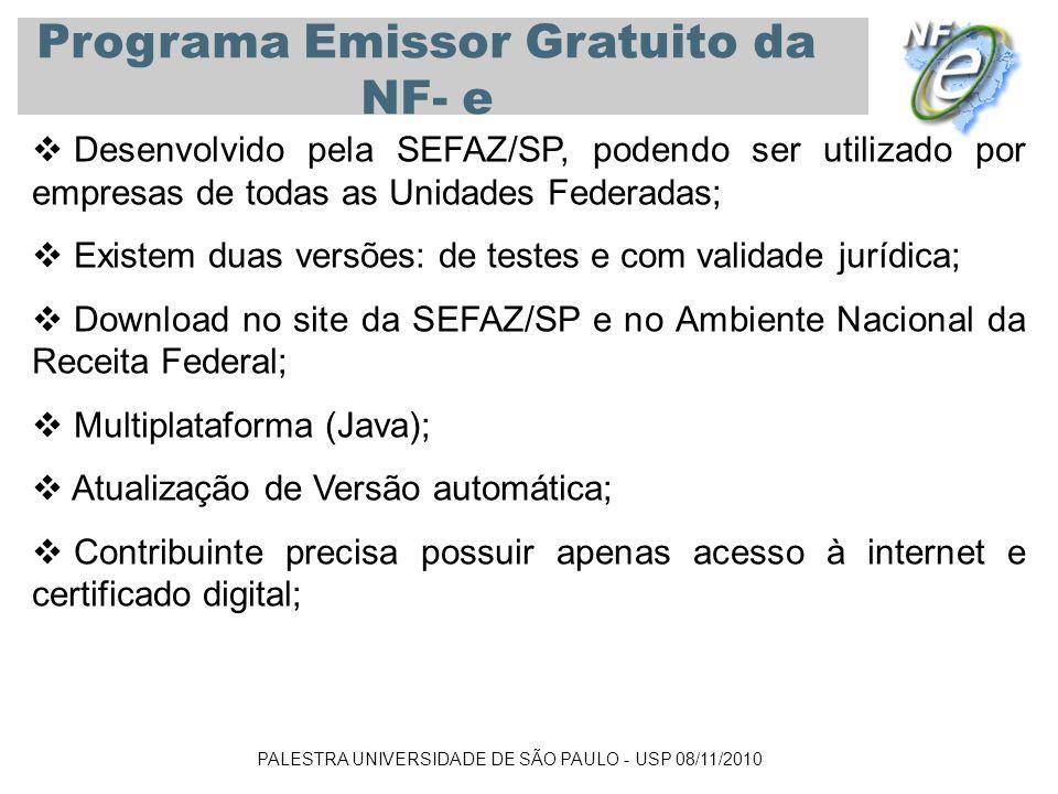 PALESTRA UNIVERSIDADE DE SÃO PAULO - USP 08/11/2010 Programa Emissor Gratuito da NF- e Desenvolvido pela SEFAZ/SP, podendo ser utilizado por empresas
