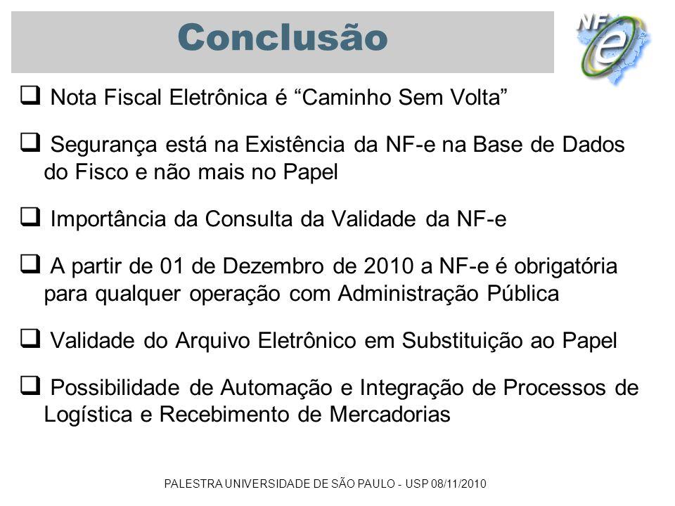 PALESTRA UNIVERSIDADE DE SÃO PAULO - USP 08/11/2010 Conclusão Nota Fiscal Eletrônica é Caminho Sem Volta Segurança está na Existência da NF-e na Base