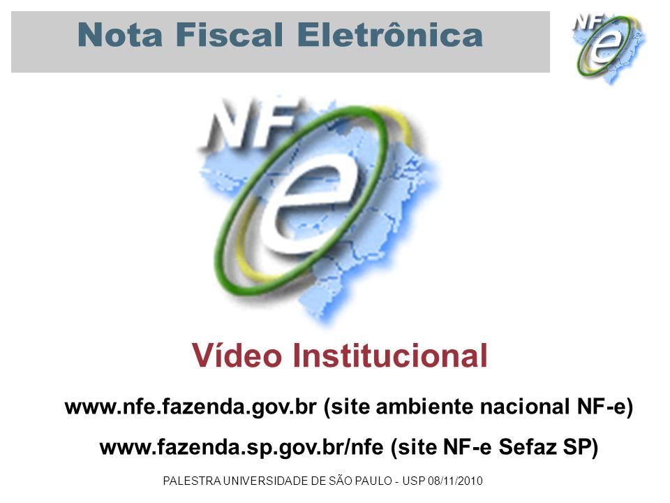 PALESTRA UNIVERSIDADE DE SÃO PAULO - USP 08/11/2010 Nota Fiscal Eletrônica Vídeo Institucional www.nfe.fazenda.gov.br (site ambiente nacional NF-e) ww