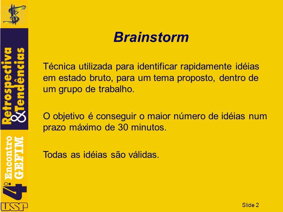 Slide 2 Brainstorm Técnica utilizada para identificar rapidamente idéias em estado bruto, para um tema proposto, dentro de um grupo de trabalho. O obj