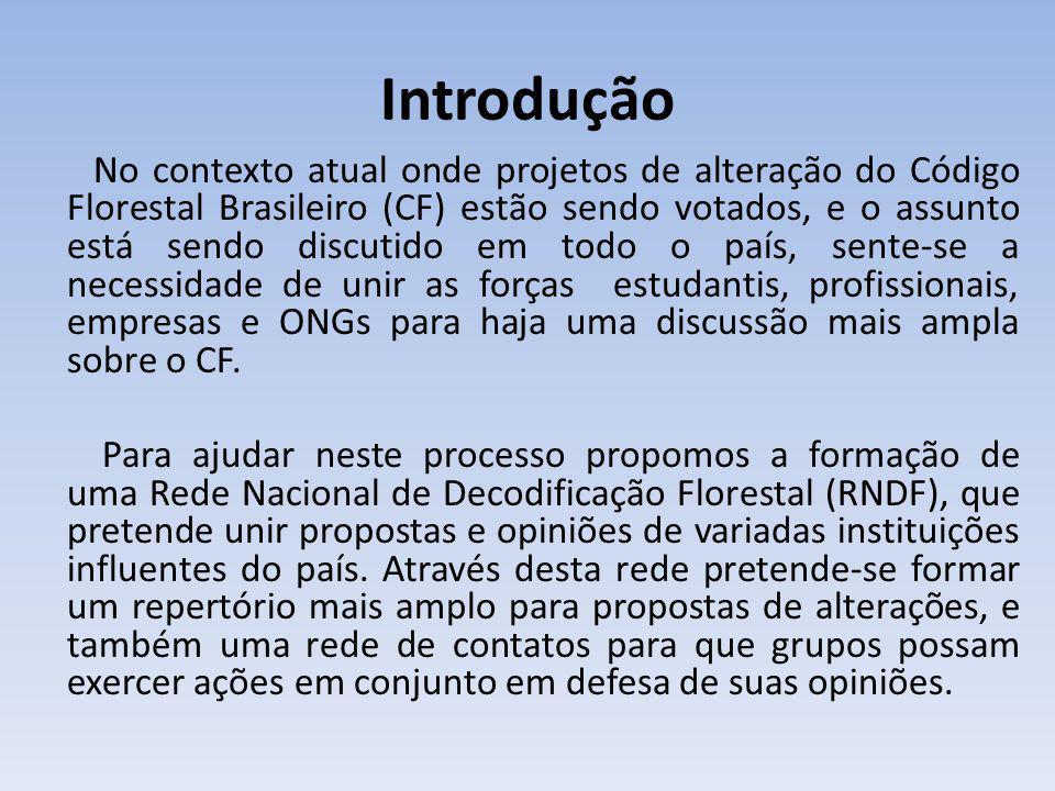 Introdução No contexto atual onde projetos de alteração do Código Florestal Brasileiro (CF) estão sendo votados, e o assunto está sendo discutido em todo o país, sente-se a necessidade de unir as forças estudantis, profissionais, empresas e ONGs para haja uma discussão mais ampla sobre o CF.