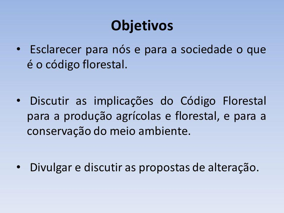 Objetivos Esclarecer para nós e para a sociedade o que é o código florestal.