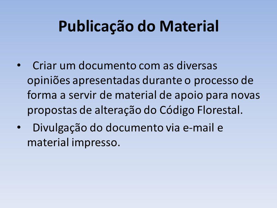 Publicação do Material Criar um documento com as diversas opiniões apresentadas durante o processo de forma a servir de material de apoio para novas propostas de alteração do Código Florestal.
