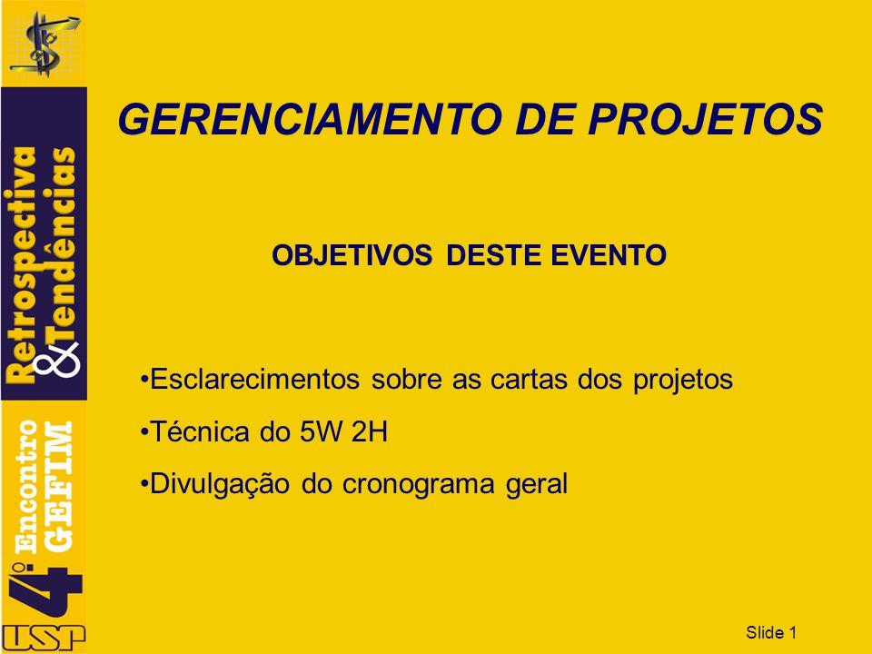 Slide 1 GERENCIAMENTO DE PROJETOS OBJETIVOS DESTE EVENTO Esclarecimentos sobre as cartas dos projetos Técnica do 5W 2H Divulgação do cronograma geral