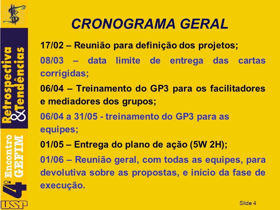 Slide 4 CRONOGRAMA GERAL 17/02 – Reunião para definição dos projetos; 08/03 – data limite de entrega das cartas corrigidas; 06/04 – Treinamento do GP3