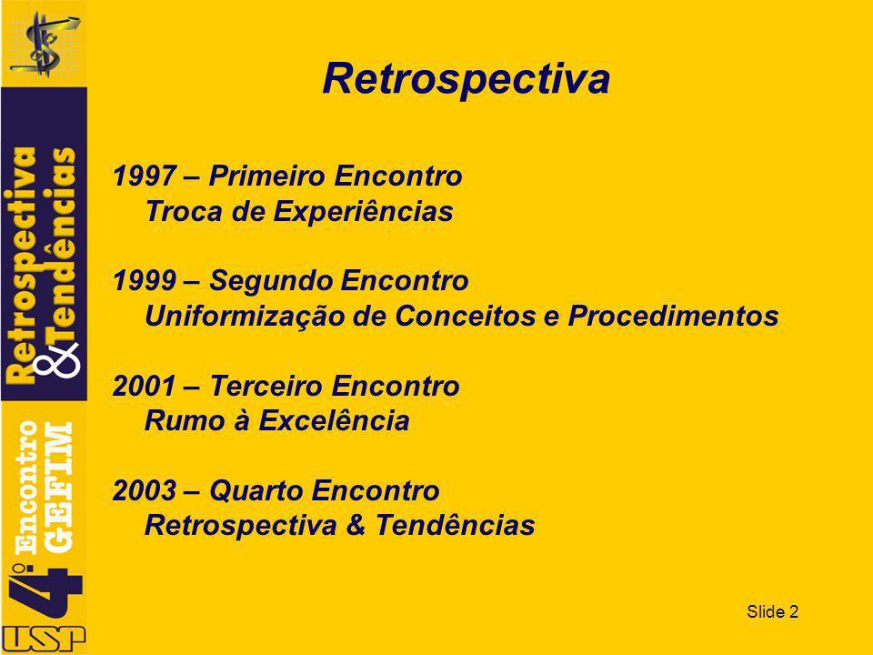 Slide 2 Retrospectiva 1997 – Primeiro Encontro Troca de Experiências 1999 – Segundo Encontro Uniformização de Conceitos e Procedimentos 2001 – Terceiro Encontro Rumo à Excelência 2003 – Quarto Encontro Retrospectiva & Tendências