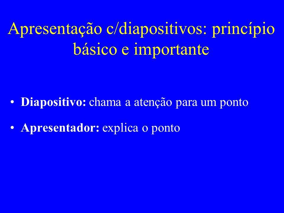 Apresentação c/diapositivos: princípio básico e importante Diapositivo: chama a atenção para um ponto Apresentador: explica o ponto