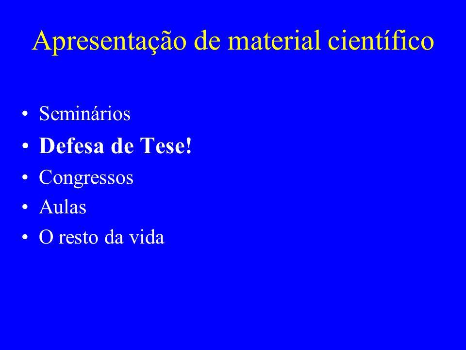 Apresentação de material científico Seminários Defesa de Tese! Congressos Aulas O resto da vida