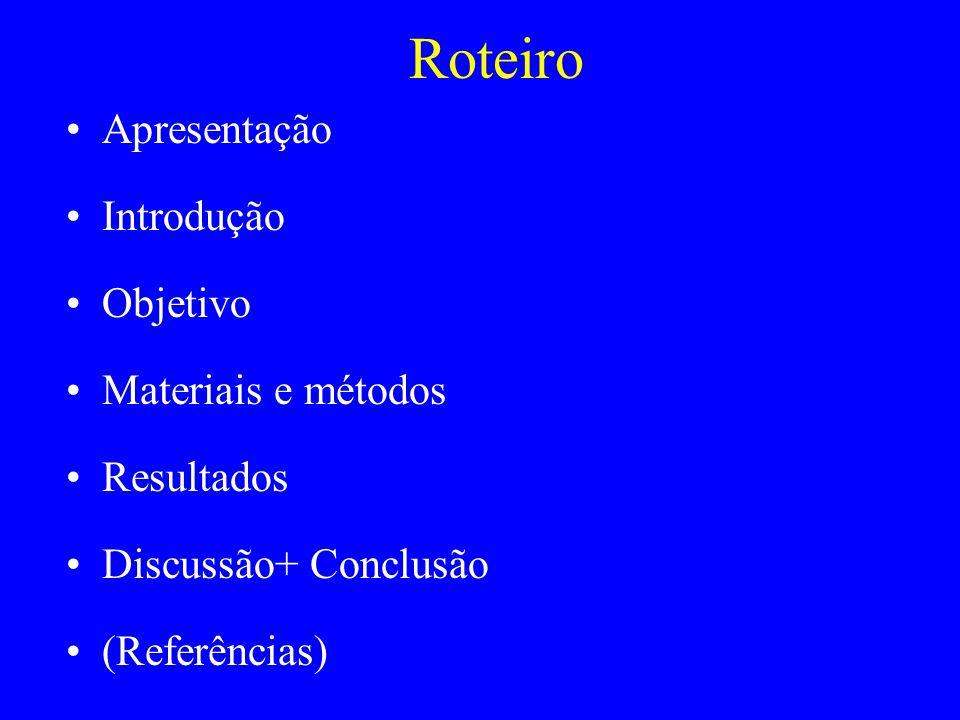 Apresentação Introdução Objetivo Materiais e métodos Resultados Discussão+ Conclusão (Referências) Roteiro