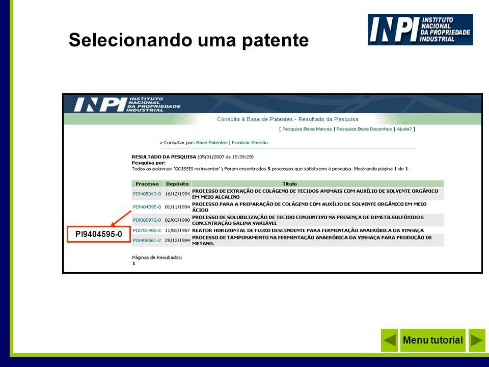 Selecionando uma patente PI9404595-0 Menu tutorial