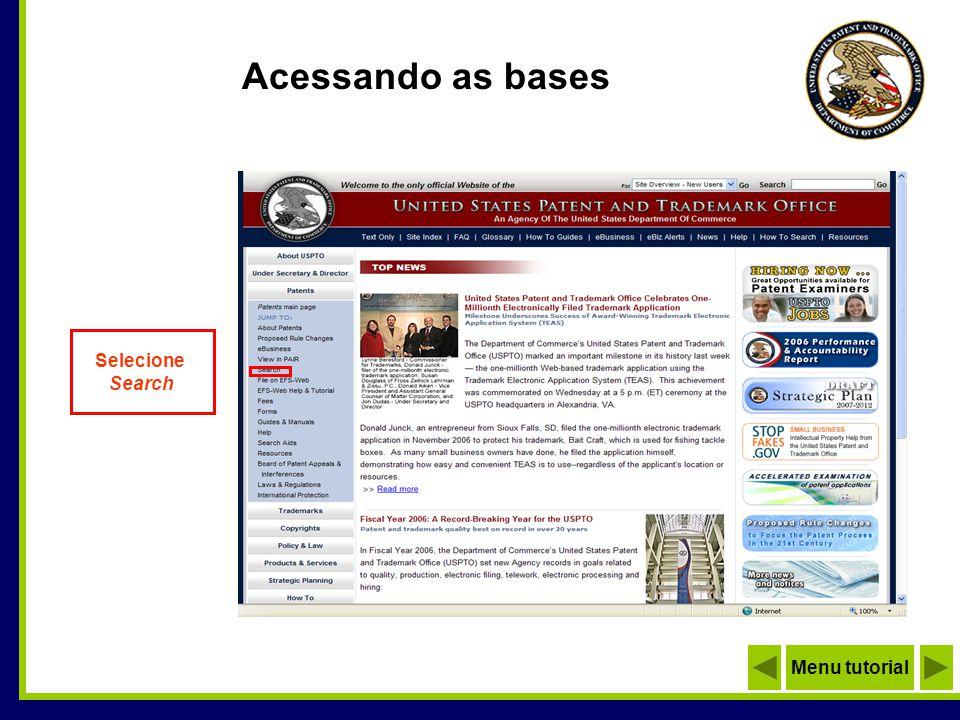 Selecione Search Acessando as bases Menu tutorial
