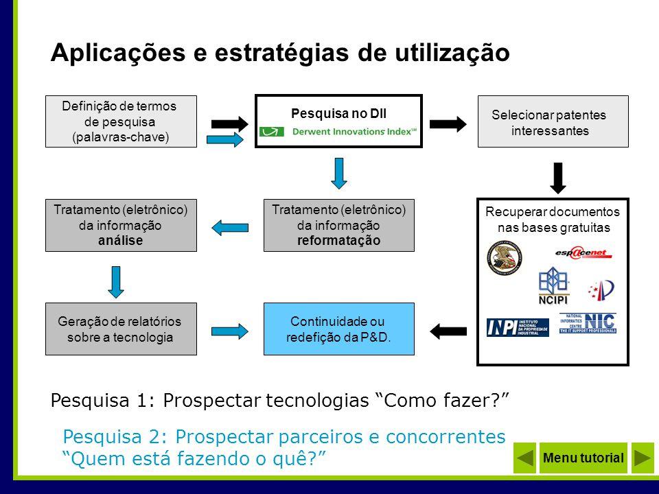 Definição de termos de pesquisa (palavras-chave) Tratamento (eletrônico) da informação reformatação Selecionar patentes interessantes Tratamento (elet