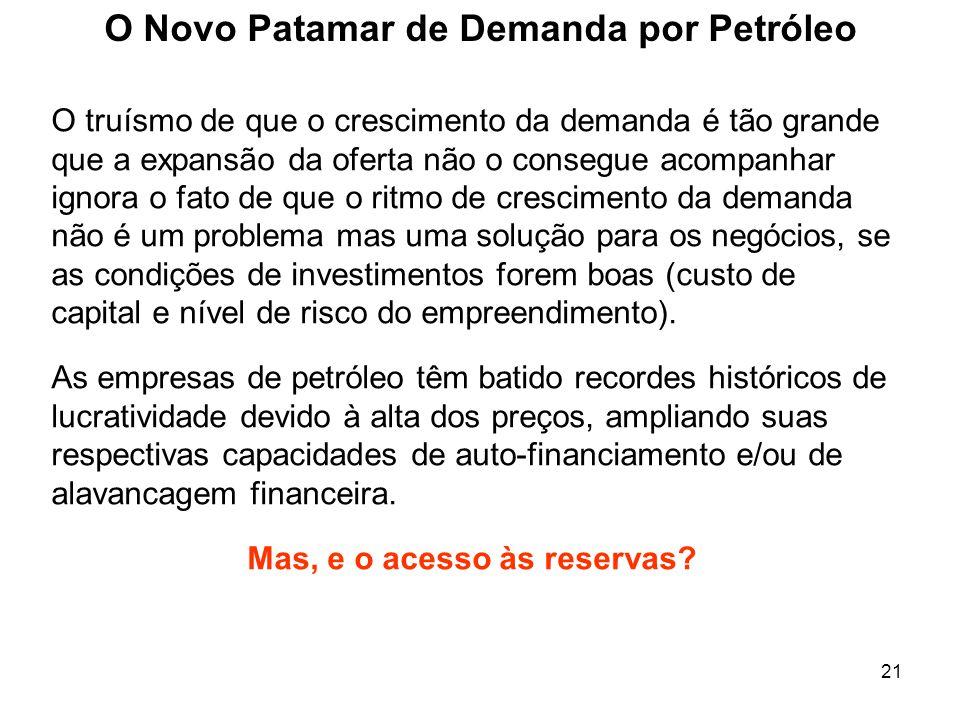 21 O Novo Patamar de Demanda por Petróleo O truísmo de que o crescimento da demanda é tão grande que a expansão da oferta não o consegue acompanhar ig