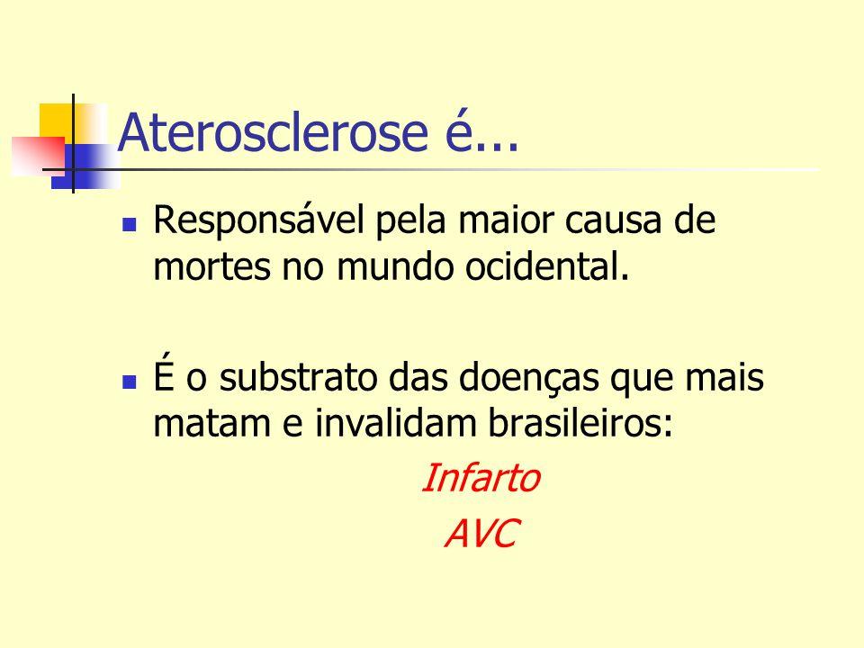 Aterosclerose é... Responsável pela maior causa de mortes no mundo ocidental. É o substrato das doenças que mais matam e invalidam brasileiros: Infart