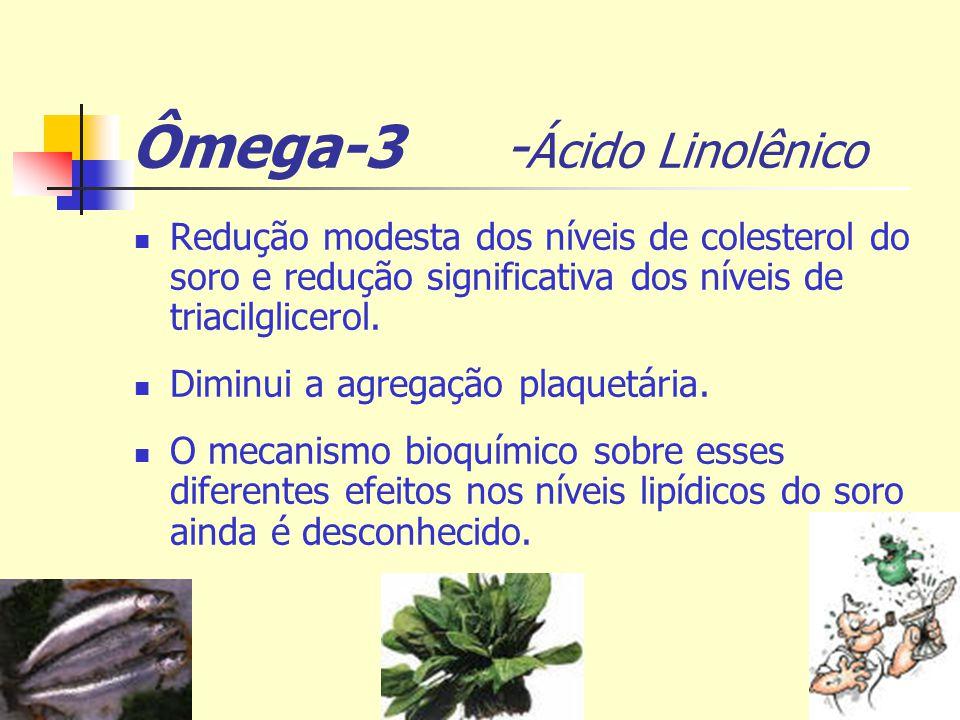 Ômega-3 - Ácido Linolênico Redução modesta dos níveis de colesterol do soro e redução significativa dos níveis de triacilglicerol. Diminui a agregação
