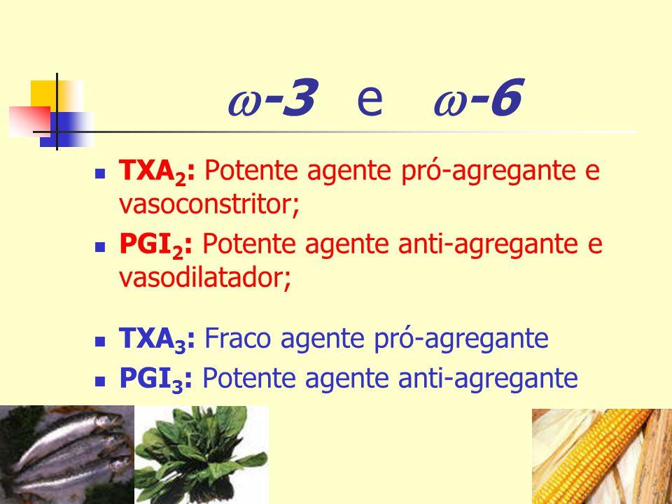 -3 e -6 TXA 2 : Potente agente pró-agregante e vasoconstritor; PGI 2 : Potente agente anti-agregante e vasodilatador; TXA 3 : Fraco agente pró-agregan