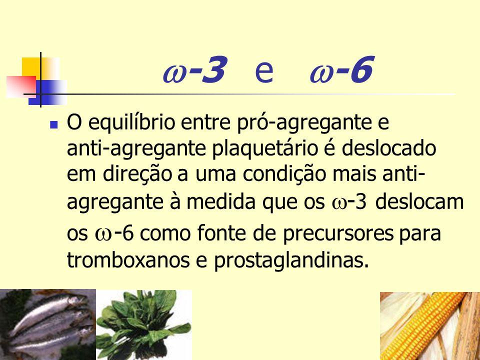 -3 e -6 O equilíbrio entre pró-agregante e anti-agregante plaquetário é deslocado em direção a uma condição mais anti- agregante à medida que os - 3 d