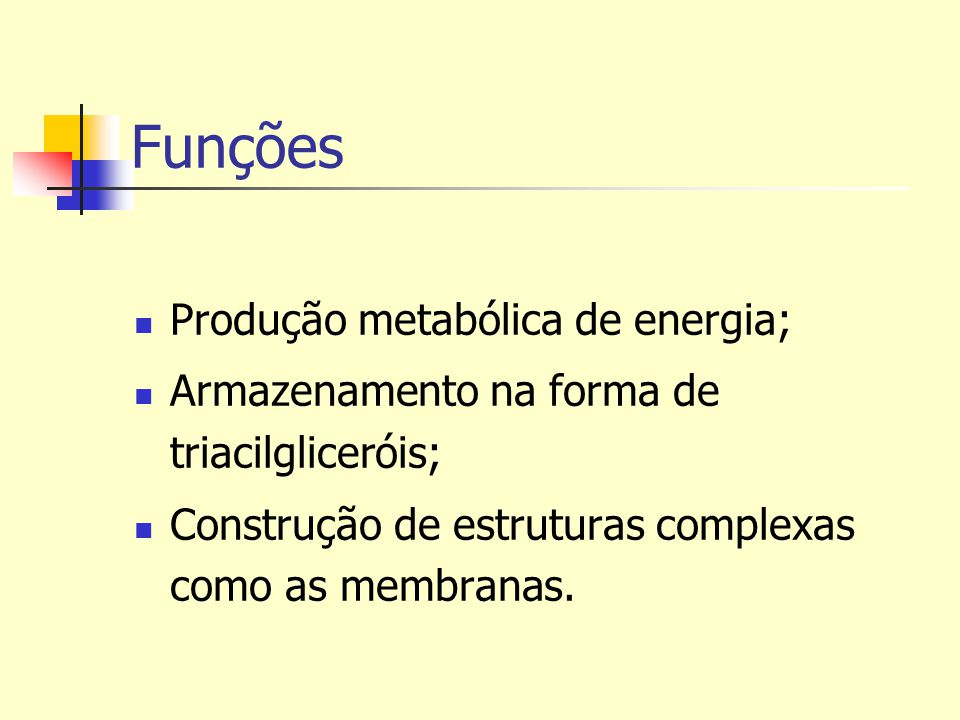 Funções Produção metabólica de energia; Armazenamento na forma de triacilgliceróis; Construção de estruturas complexas como as membranas.