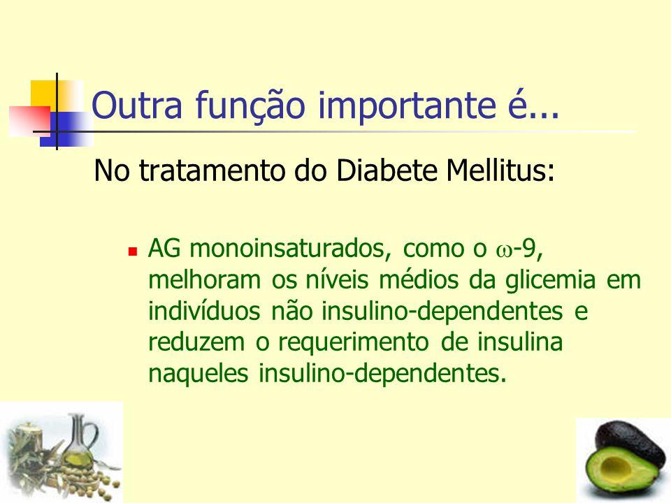 Outra função importante é... No tratamento do Diabete Mellitus: AG monoinsaturados, como o -9, melhoram os níveis médios da glicemia em indivíduos não