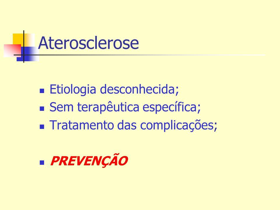 Aterosclerose Etiologia desconhecida; Sem terapêutica específica; Tratamento das complicações; PREVENÇÃO