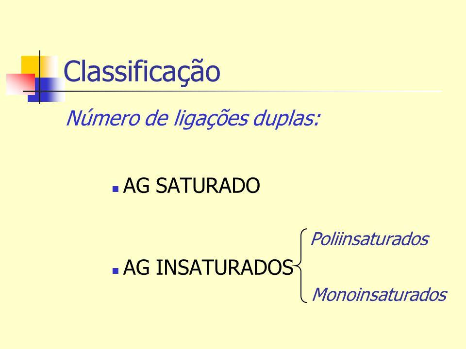 Classificação Número de ligações duplas: AG SATURADO Poliinsaturados AG INSATURADOS Monoinsaturados