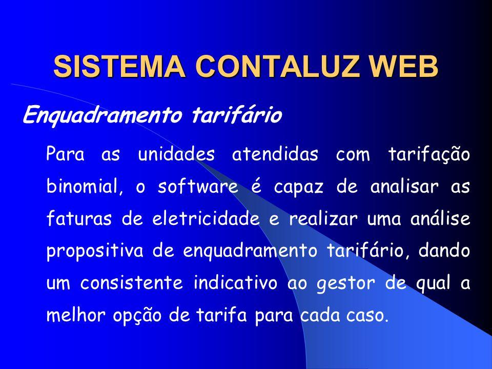 SISTEMA CONTALUZ WEB Enquadramento tarifário Para as unidades atendidas com tarifação binomial, o software é capaz de analisar as faturas de eletricid