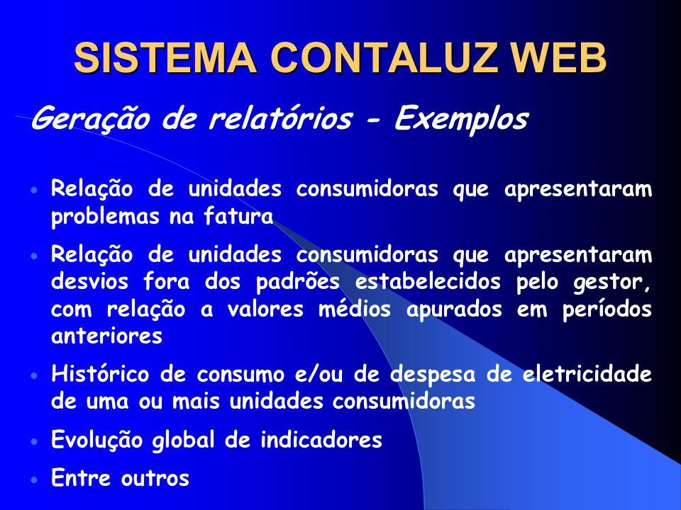 SISTEMA CONTALUZ WEB Geração de relatórios - Exemplos Relação de unidades consumidoras que apresentaram problemas na fatura Relação de unidades consum