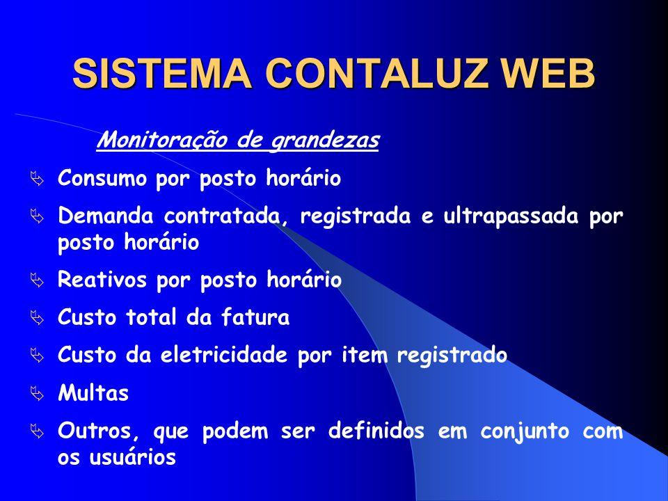 SISTEMA CONTALUZ WEB Monitoração de grandezas Consumo por posto horário Demanda contratada, registrada e ultrapassada por posto horário Reativos por p