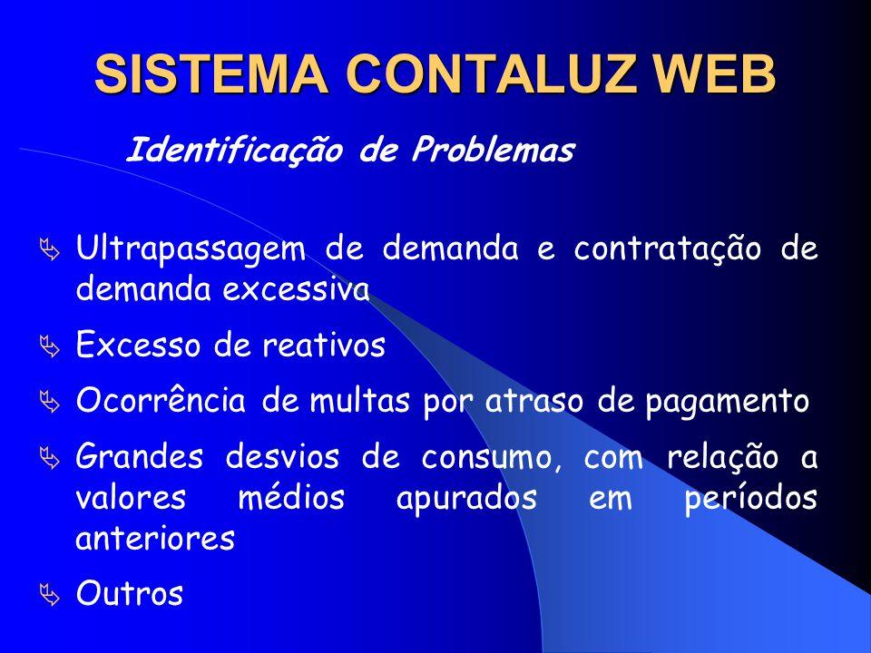 SISTEMA CONTALUZ WEB Identificação de Problemas Ultrapassagem de demanda e contratação de demanda excessiva Excesso de reativos Ocorrência de multas p