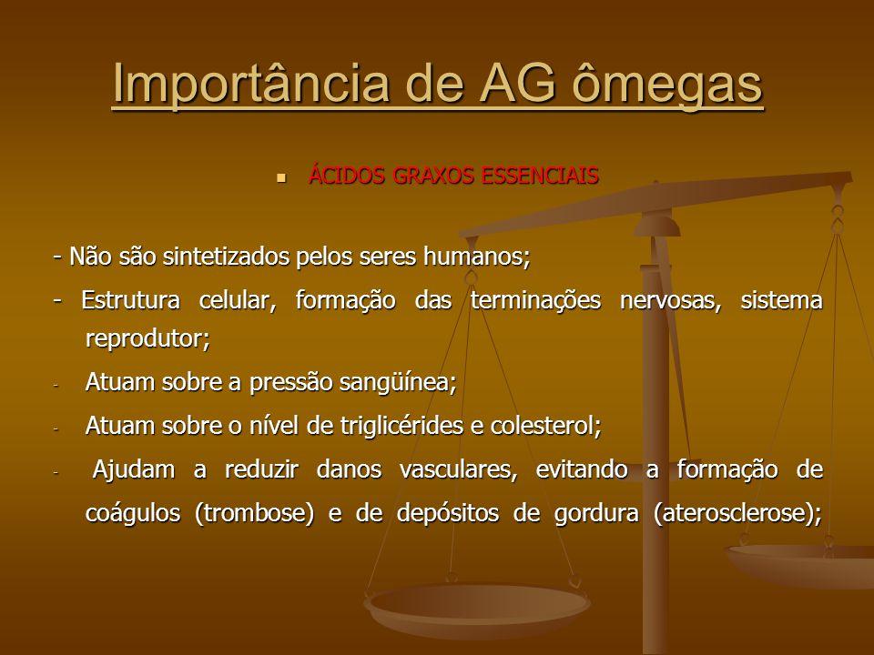 Importância de AG ômegas ÁCIDOS GRAXOS ESSENCIAIS ÁCIDOS GRAXOS ESSENCIAIS - Não são sintetizados pelos seres humanos; - Estrutura celular, formação das terminações nervosas, sistema reprodutor; - Atuam sobre a pressão sangüínea; - Atuam sobre o nível de triglicérides e colesterol; - Ajudam a reduzir danos vasculares, evitando a formação de coágulos (trombose) e de depósitos de gordura (aterosclerose);