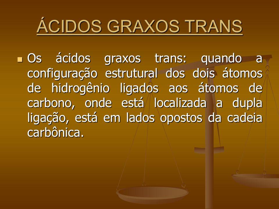 ÁCIDOS GRAXOS TRANS Os ácidos graxos trans: quando a configuração estrutural dos dois átomos de hidrogênio ligados aos átomos de carbono, onde está localizada a dupla ligação, está em lados opostos da cadeia carbônica.