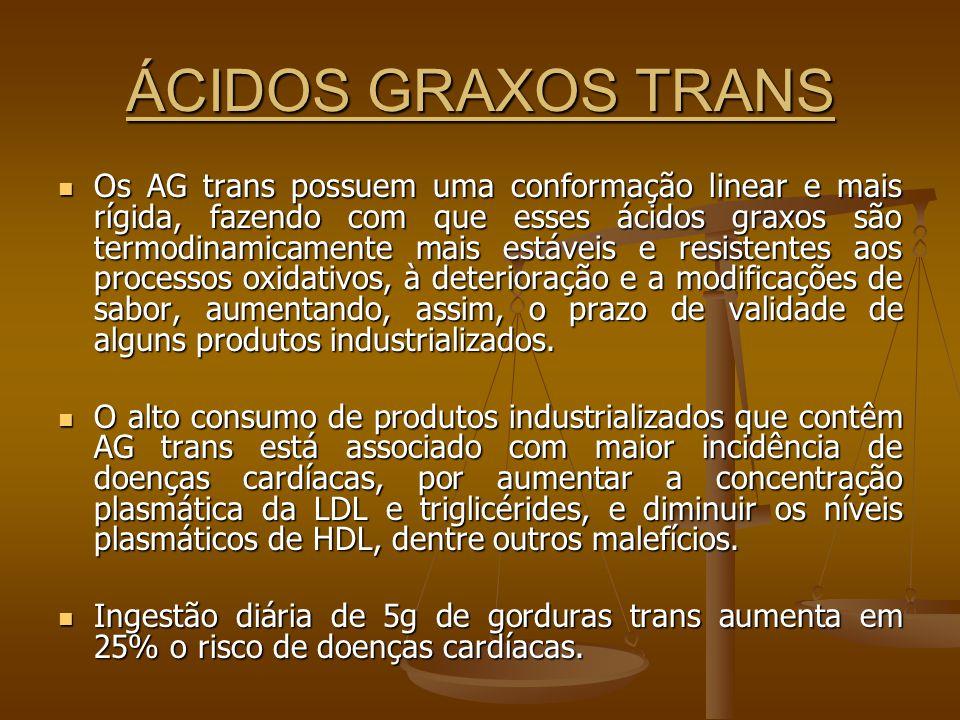 ÁCIDOS GRAXOS TRANS Os AG trans possuem uma conformação linear e mais rígida, fazendo com que esses ácidos graxos são termodinamicamente mais estáveis e resistentes aos processos oxidativos, à deterioração e a modificações de sabor, aumentando, assim, o prazo de validade de alguns produtos industrializados.