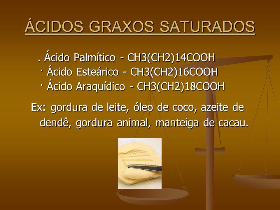 ÁCIDOS GRAXOS SATURADOS.