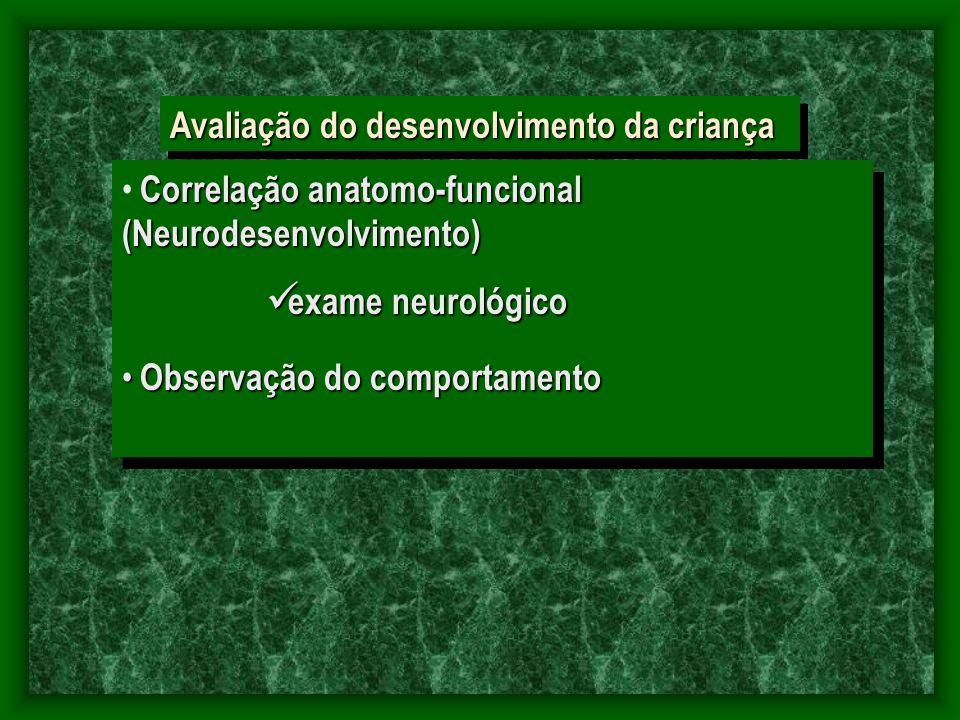 Avaliação do desenvolvimento da criança Correlação anatomo-funcional (Neurodesenvolvimento) exame neurológico exame neurológico Observação do comportamento Observação do comportamento Correlação anatomo-funcional (Neurodesenvolvimento) exame neurológico exame neurológico Observação do comportamento Observação do comportamento