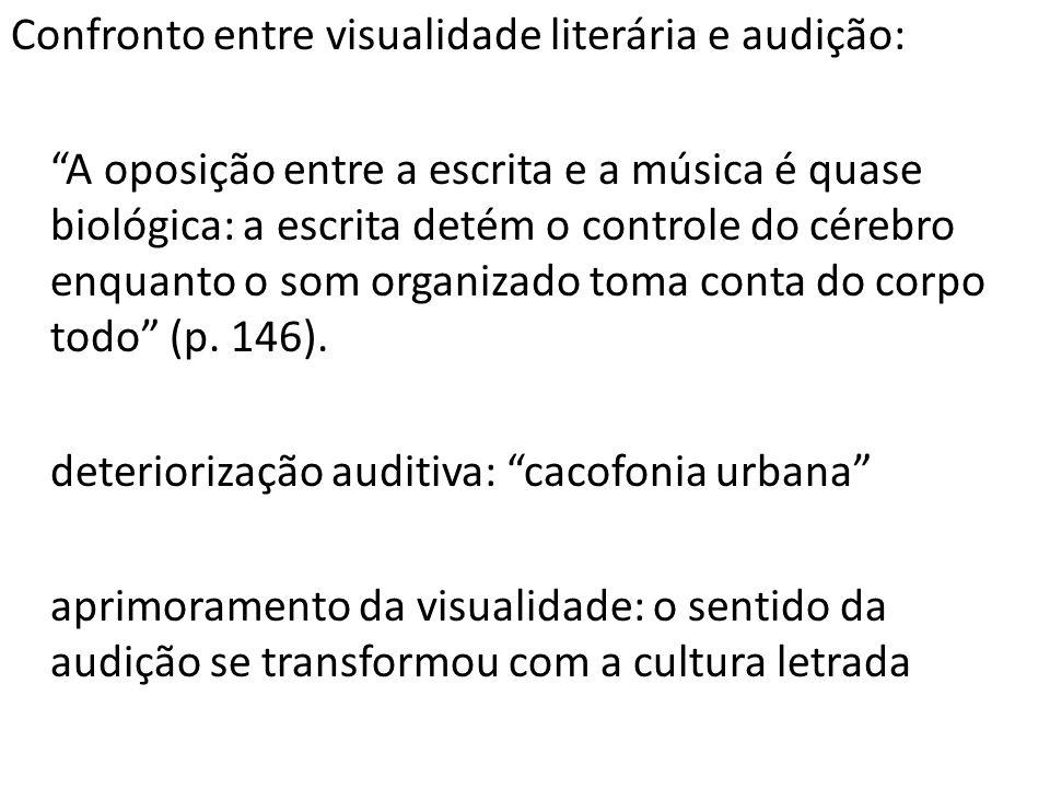Confronto entre visualidade literária e audição: A oposição entre a escrita e a música é quase biológica: a escrita detém o controle do cérebro enquan