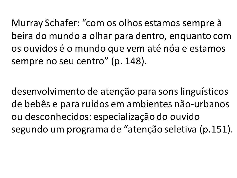 Murray Schafer: com os olhos estamos sempre à beira do mundo a olhar para dentro, enquanto com os ouvidos é o mundo que vem até nóa e estamos sempre n
