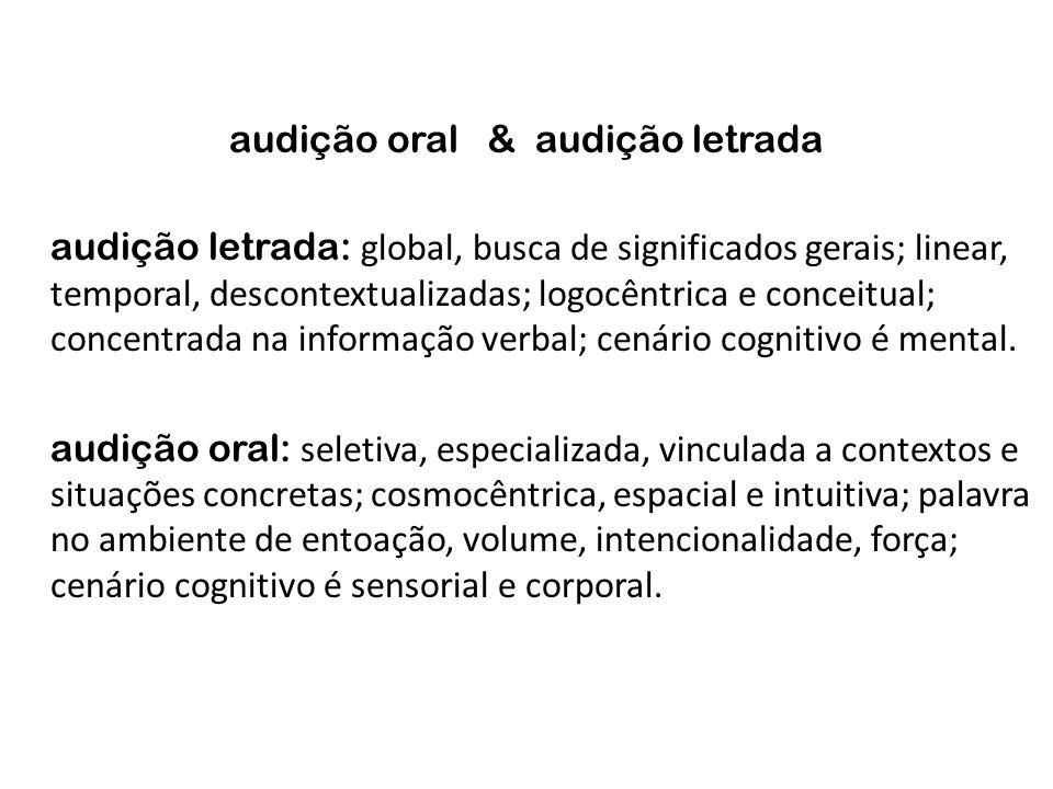 audição oral & audição letrada audição letrada: global, busca de significados gerais; linear, temporal, descontextualizadas; logocêntrica e conceitual
