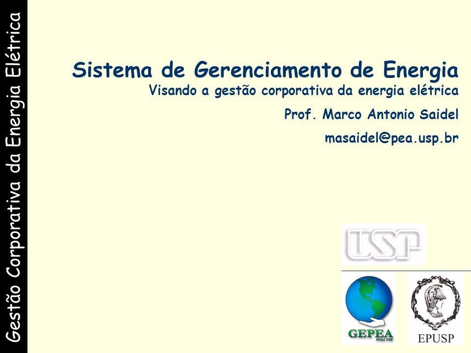 Gestão Corporativa da Energia Elétrica Sistema de Gerenciamento de Energia Visando a gestão corporativa da energia elétrica Prof.